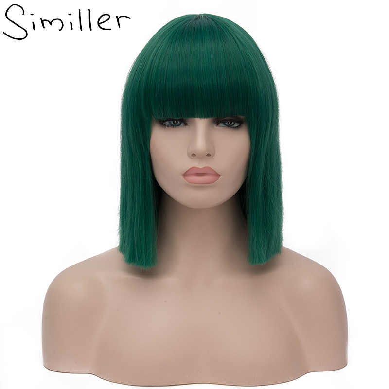 Similler Women Short Bob Synthetic Wigs High Temperature Fiber Hair with  Fringe bangs and Rose 9d10c396d53a