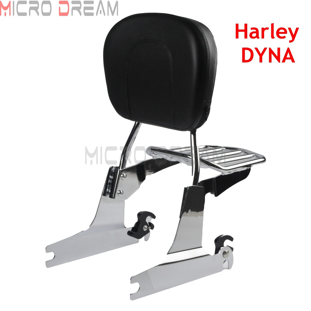 For Harley Dyna 2006 Up Motorcycle Sissy Bar w Detachable Luggage Rack Rear Passenger Comfortable Leather
