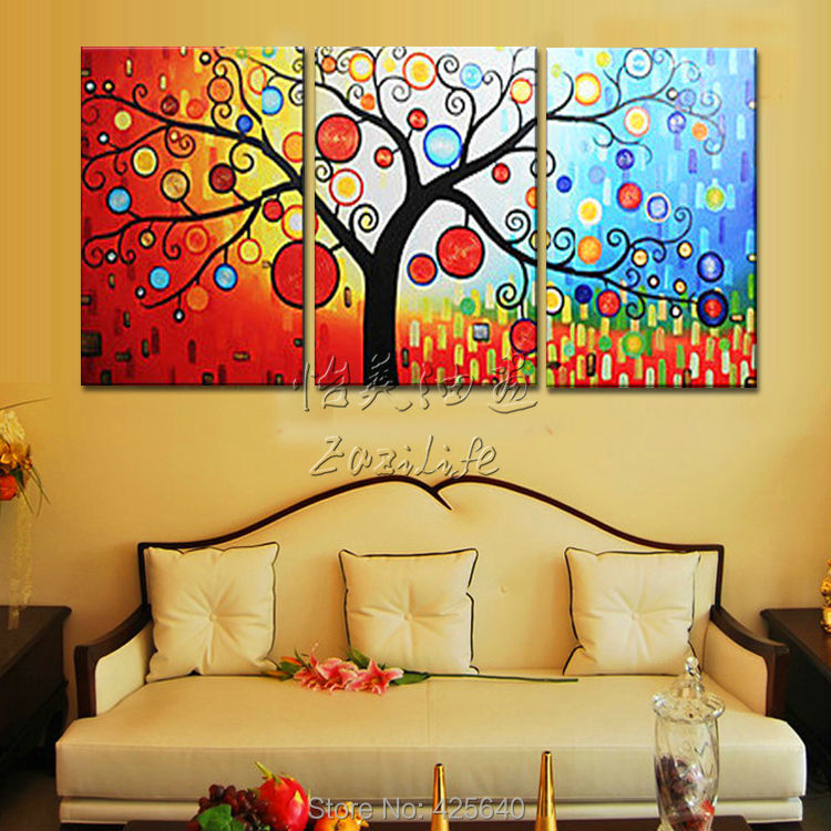 3 Piece Hand Painted Palette font b Knife b font Colorful Tree Oil Painting Wall Art