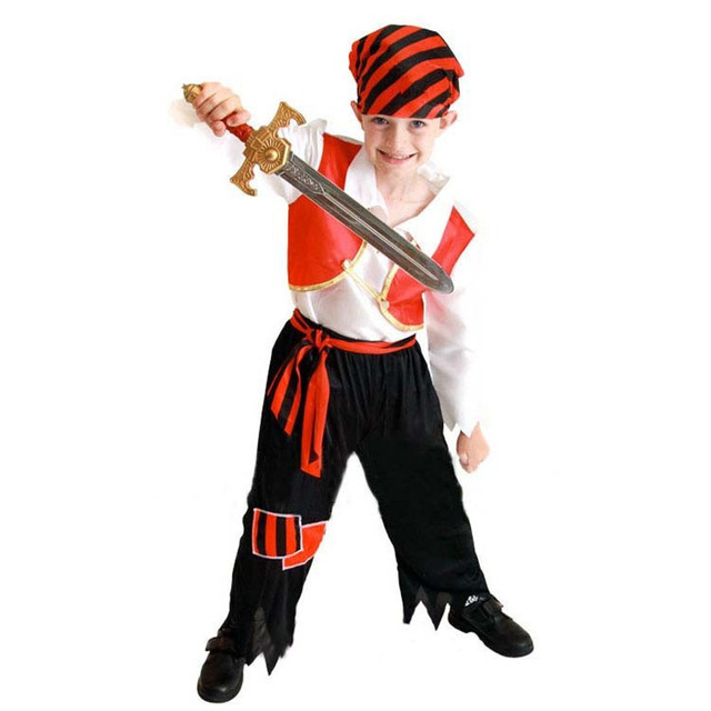 2018 Children Boys Pirates Costume Kids Masquerade Pirates Cosplay Costumes Halloween Dress Party Supplies Purim