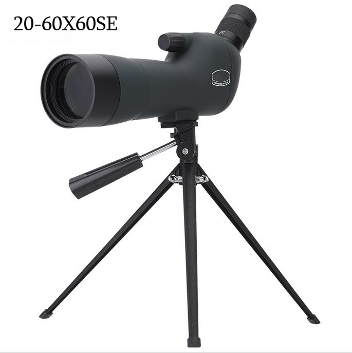 20-60X60 Zoom HD Adjustable Monocular Telescope Spotting Scope with Portable Tripod Telescopio for Birdwatching Hunting top quality zoom hd outdoor monocular space astronomical telescope with portable tripod spotting scope 300 70mm telescopio