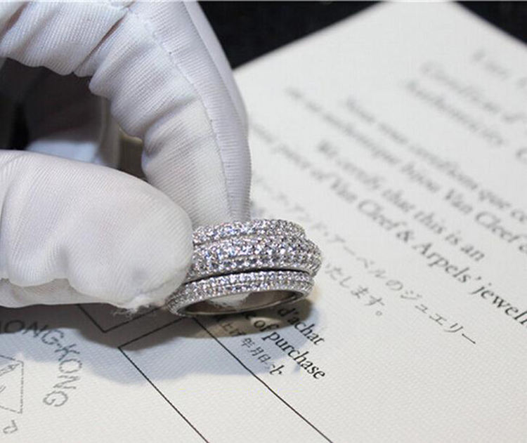 2018 nouveauté Top vente tout nouveau Pave complet 5A zircone superbe bijoux 925 en argent Sterling femmes mariage bague cadeau - 2