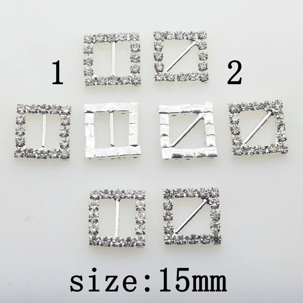 New Hot 10Pcs 15mm Square Shiny Diy Apparel Jewelry Accessories Rhinestones Pedestal Wedding Decoration Embellishments Caps