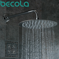 BECOLA Envío Libre ducha de Ultra delgada cabeza de ducha Redonda de acero Inoxidable 8 10 12 16 pulgadas grifo de la ducha