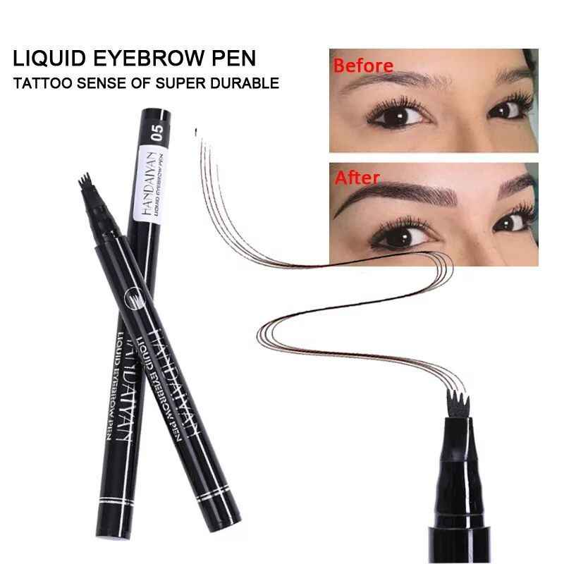 HANDAIYAN 5 สีกันน้ำ Microblading Eyebrow Tattoo ปากกา 4 ส้อมหมึกแกะสลัก Liquid Eye Brow Tattooing Pencil Sweat - proof