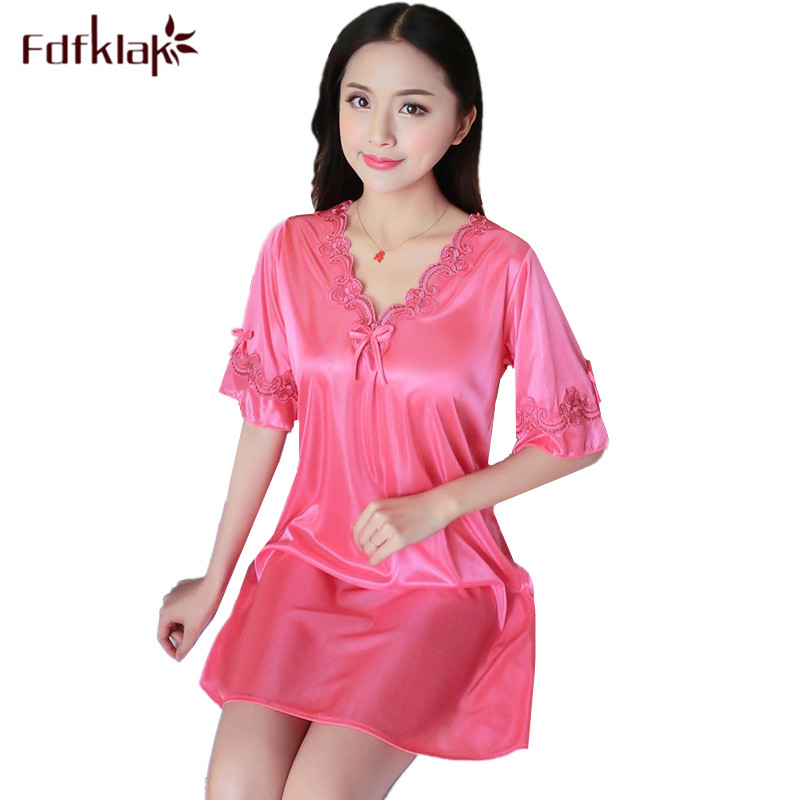 Fdfklak Casual sleepwear night gown women summer nightdress short sleeve sexy v-neck nightshirt female   nightgown     sleepshirt