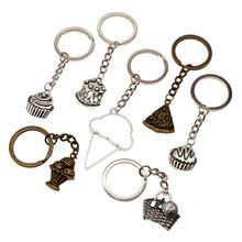 High Quality Car Keychain Cake Charm Food Key Ring Vintage Keychains Handmade DIY Jewelry Holder Souvenir  For Women
