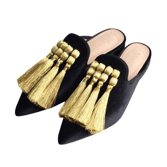 Online Shop MAVIRS 2018 Fashion Embroidery Tassel Mules Women Slippers  Flats Casual Shoes Velvet Backless Slip On Loafers Flat | Aliexpress Mobile