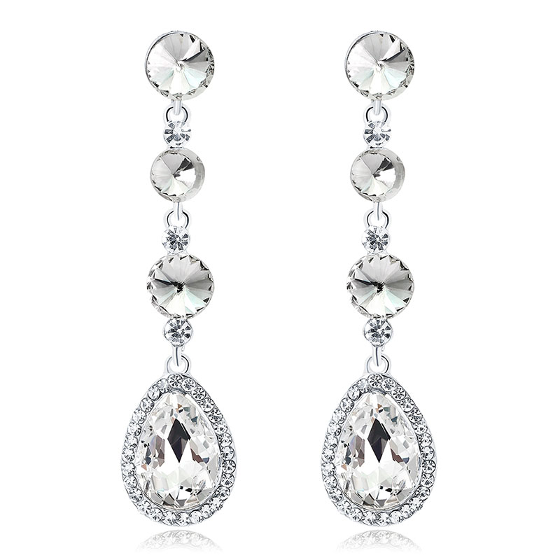 Crystal Long Earrings Jewelry Bridal Wedding Accessories