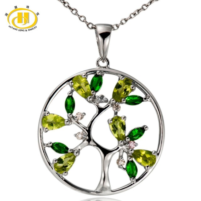 Hutang Árvore da Vida Natural Peridot Pingente 925 Sterling Silver Diopsídio Topázio Gemstone Colar de Jóias Finas