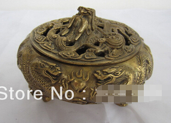 Free Shipping Vintage Ancient Chinese Bronze Statue Dragon Playing Bead Censer Incense Burners