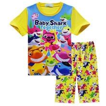 Baby shark pajamas cartoon kids boys girls clothing set top and pant 2pcs set summer Beach clothes short sleeve suit J001