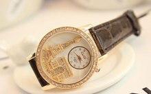 2015 Women rhinestone watches Caiqi Brand Luxury Crystal The Eiffel Tower Watch Women Ladies Fashion Dress Quartz Wristwatches