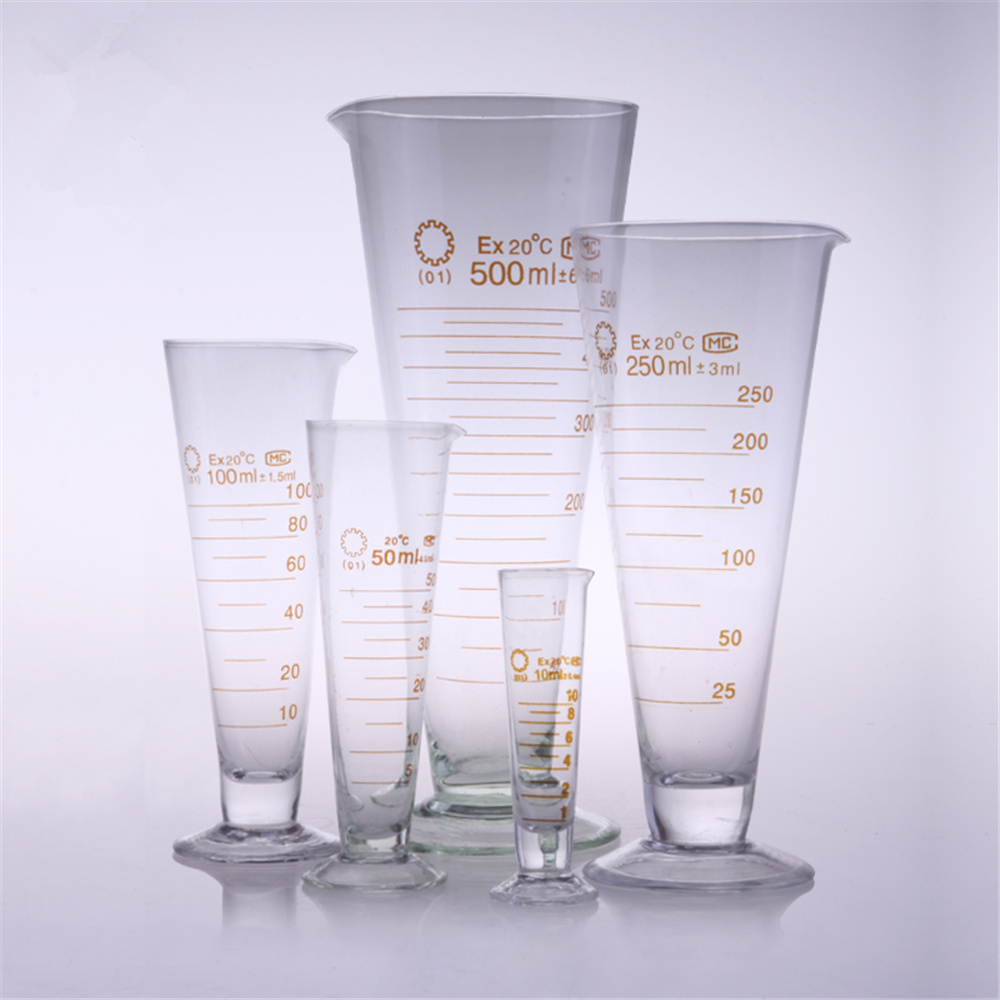 High quality Laboratory 2000ml Measuring cylinder with Scale Taper Glass Measuring Cup Lab Supplies