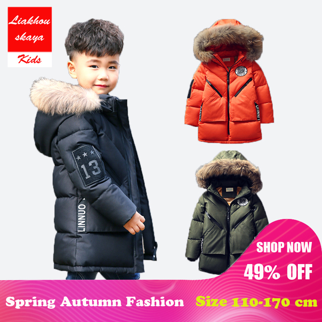 947ffd4e516ca Liakhouskaya 2018 Big Size Children Boy Kid Winter Hooded Jacket Coat Kids  Warm Outerwear Thick Fur Collar Long Down Coat 5-17 Y