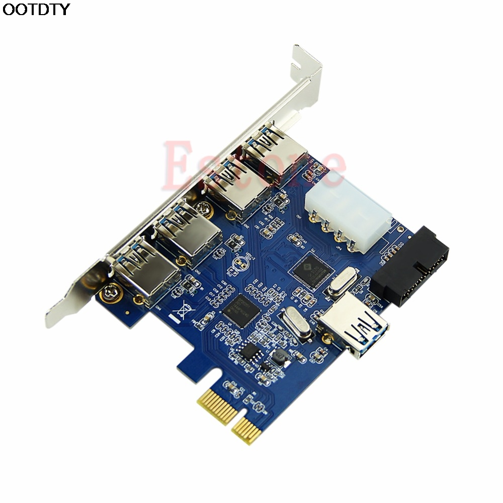 5 Ports PCI-E 4 Pin Adapter PCI Card to USB 3.0 + 19 Pin Connector For Win # L059