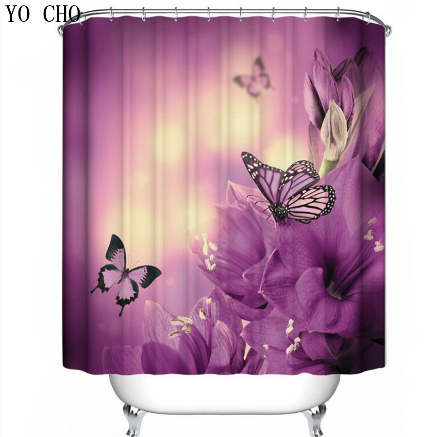 YO CHO Purple Shower Curtains Bathroom Products Forest Green Watercolor Bath Curtain Funny Butterfly Set In From