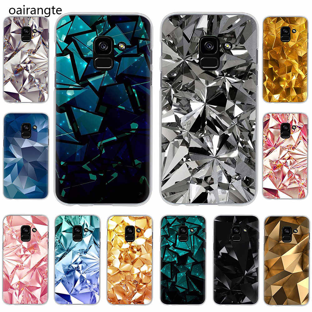 Black And Gold Diamond Hard phone cover case for Samsung Galaxy A3 5 2017 A6 7 8 9 2018 A10 30 40 50 70