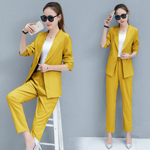 Women Office Suits Autumn New OL Leisure Pants Two-Pieces Clothing Set Blazer Top Jacket Trousers Solid Clothes Korean Fashion