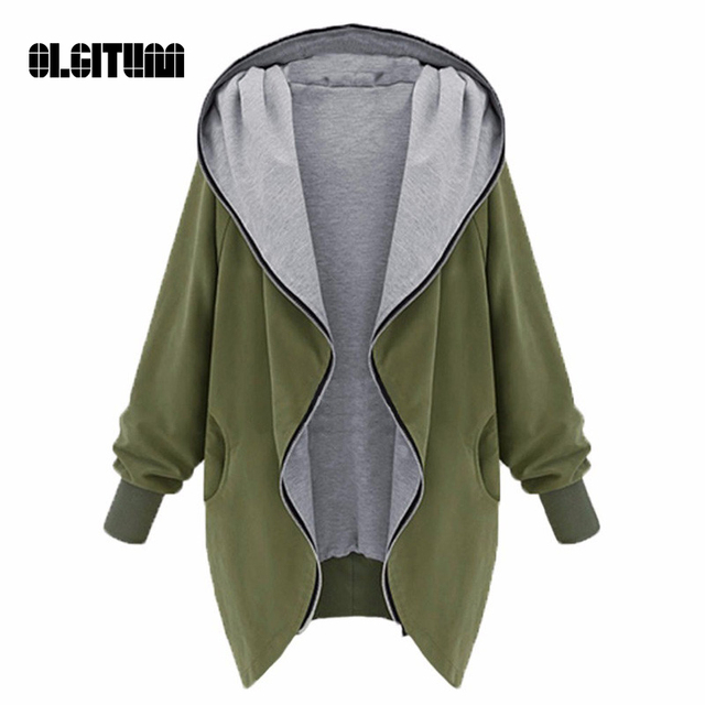 2016 Fall Female Overcoat  Women Jacket  Hooded Military Coat Long Sleeve Zippered Hoodie Cardigan  XL--5XL