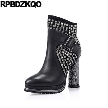 Black Rivet Chunky Fall Pointed Toe Luxury Brand Shoes Women Strange Genuine Leather High Heel Metal 2017 Short Ankle Booties