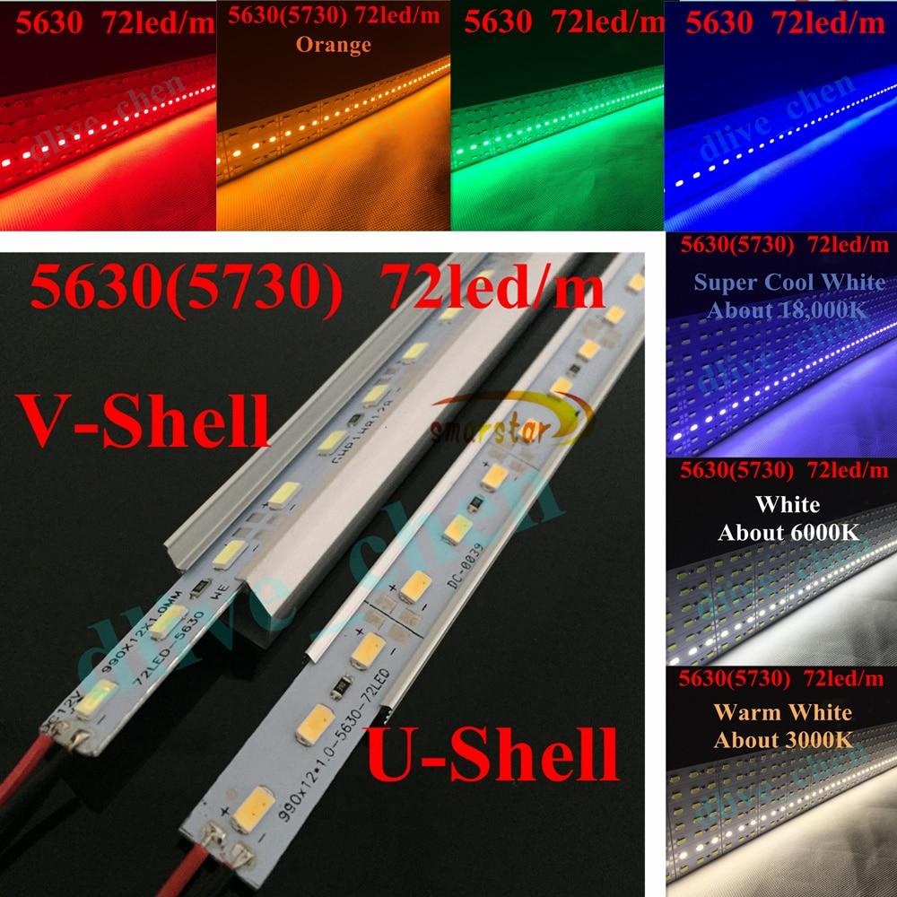 DC 12 V 0.5 M 5630(5730) Led Bar Light Hard LED Strip U V Shaped Aluminum Case Channel End Cap 50 Cm 36LED Energy Saving Lamp