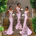 Spaghetti Straps Mermaid Bridesmaid Dresses Vestido Festa Satin lace Appliques Bridesmaid Dress Robe Demoiselle D'honneur