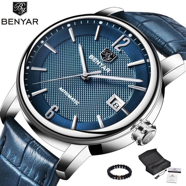 e667ca3cbe7 Benyar Azul Moda Homens Relógio Mecânico Automático Mens Relógios Top Marca  de Luxo Pulseira de Couro