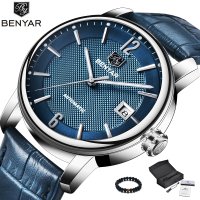 Benyar Fashion Blue Men Watch Automatic Mechanic Watches Mens Top Brand Luxury Genuine Leather Band Simple Wriswatch Men Clock