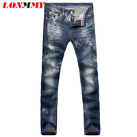 LONMMY 28 36 Mens Jeans Slim Fit Straight Elasticity Skinny Jeans Mens Denim Overalls Men Casual