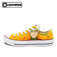 Naruto Uzumaki Anime Converse All Star Hand Painted Shoes Custom Design Low Top Orange Canvas Sneakers Boys Girls Birthday WEN