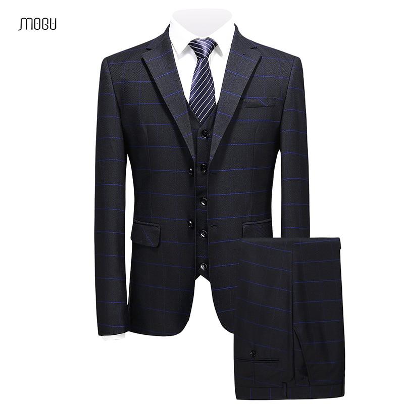 Fit Casual Mans Mogu Última Trajes Slim Elegante Masculino De blue Matrimonio Ternos Rayado 2018 red Black Piezas Partido Moda Tres CxxdZzqwr6