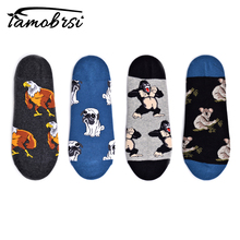 Pug Animal Sloth Happy Chicken Crew Street Style Socks Ankle Cotton Short Summer Funny Women Men Boat Socks Male Sock Slippers