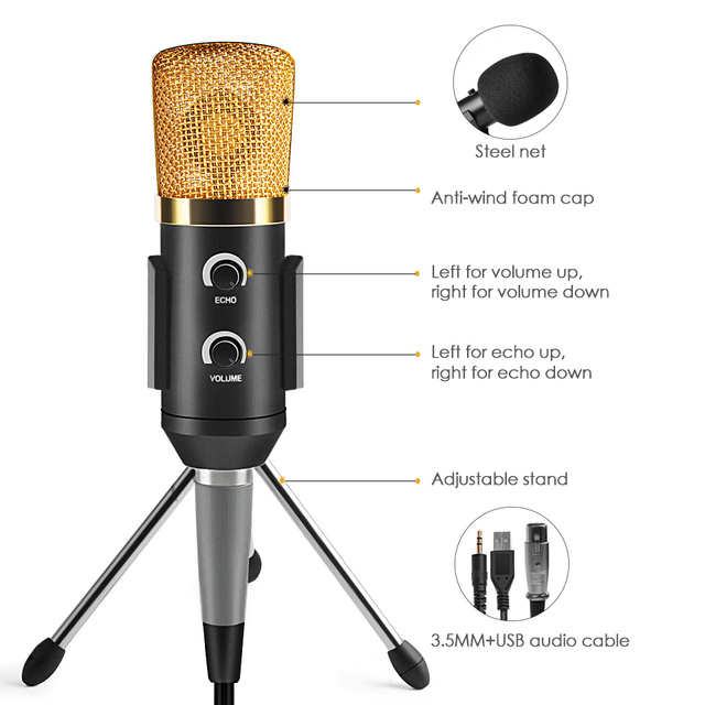 for Video Recording Karaoke Radio Studio Microphone for Computer PC  Condenser Microphone Professional Microphone