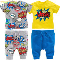 Retail 2016 summer style with short sleeves 2 PCS baby boy and girl  baby explosion printing short sleeve T-shirt + pants