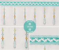 12m Water Droplets Bead Tassel Lace Curtain Trimmings Fringes Hanging Trim Sofa Curtains Accessories Decor