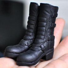 [wamami] 1: 6 Scale Action Figure Jouet Noir Tendance Longue Bottes / Chaussures Fille