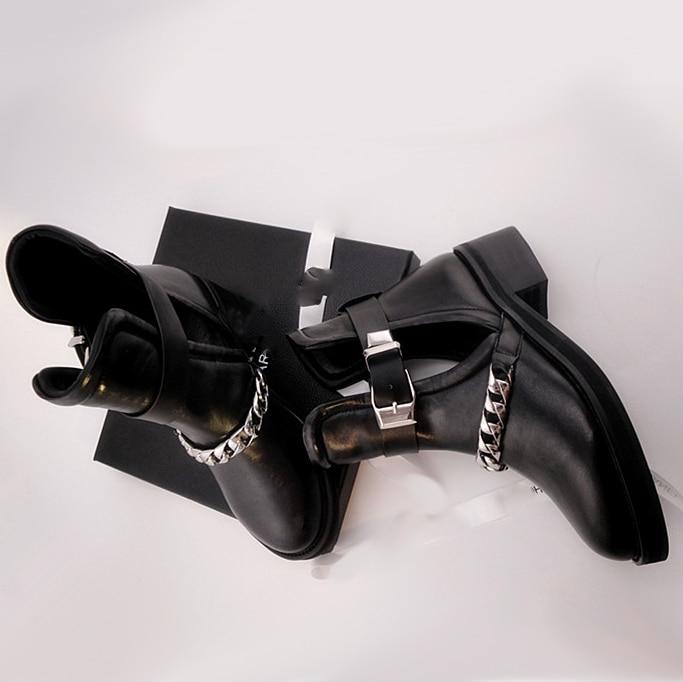 Bout Boot Picture Designer Martin Cuir Véritable Boucle Cheville Argent Femmes As Moto Femelle Bottes En Ceinture Creux Chaîne Rond n6qHaUXxCw