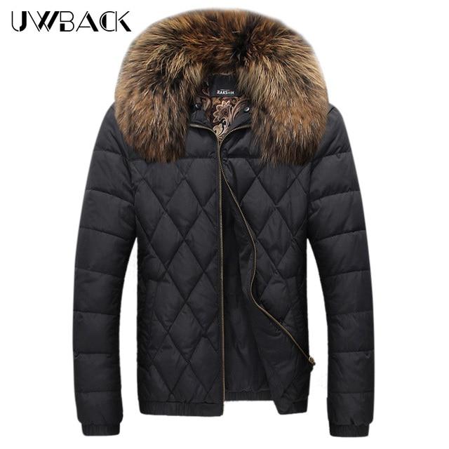 Uwback 2017 Nova Gola De Pele Casaco de Inverno Dos Homens Plus Size 5XL Grosso quente Para Baixo Homens Jaqueta Homens Jaqueta de Inverno Fino Casaco Para Baixo CAA089