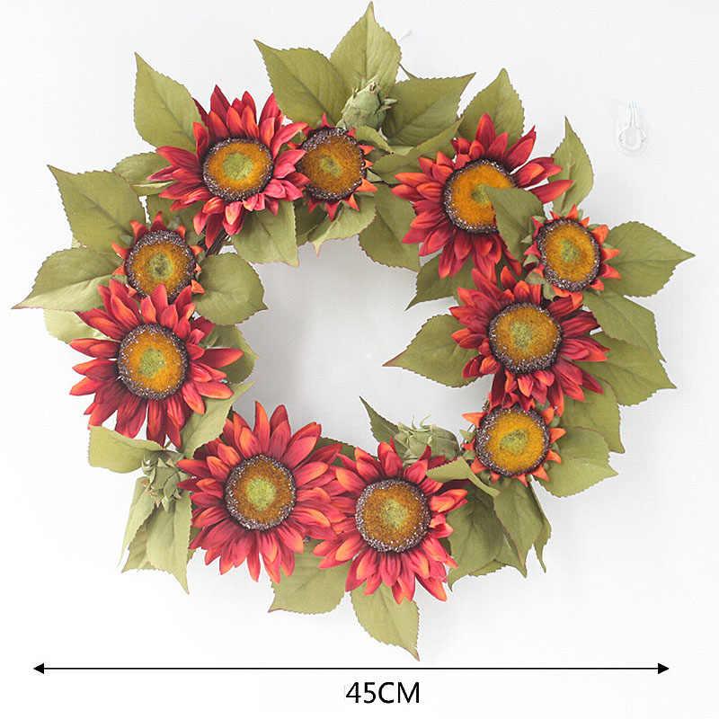Bunga Matahari Bunga Garland Pintu Jendela Buatan Bunga Gantung Pernikahan Dekorasi Palsu Karangan Bunga Pernikahan Rumah Kamar Pengantin Hiasan Kepala Hadiah