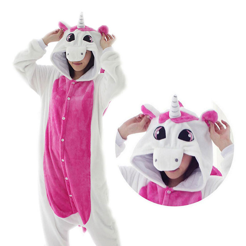 Women Unicorn   Pajamas     sets   Adult Winter Animal   Pajamas   Kit Flannel Costume Cosplay Pijamas Unicornio Onesies One Piece Sleepwear