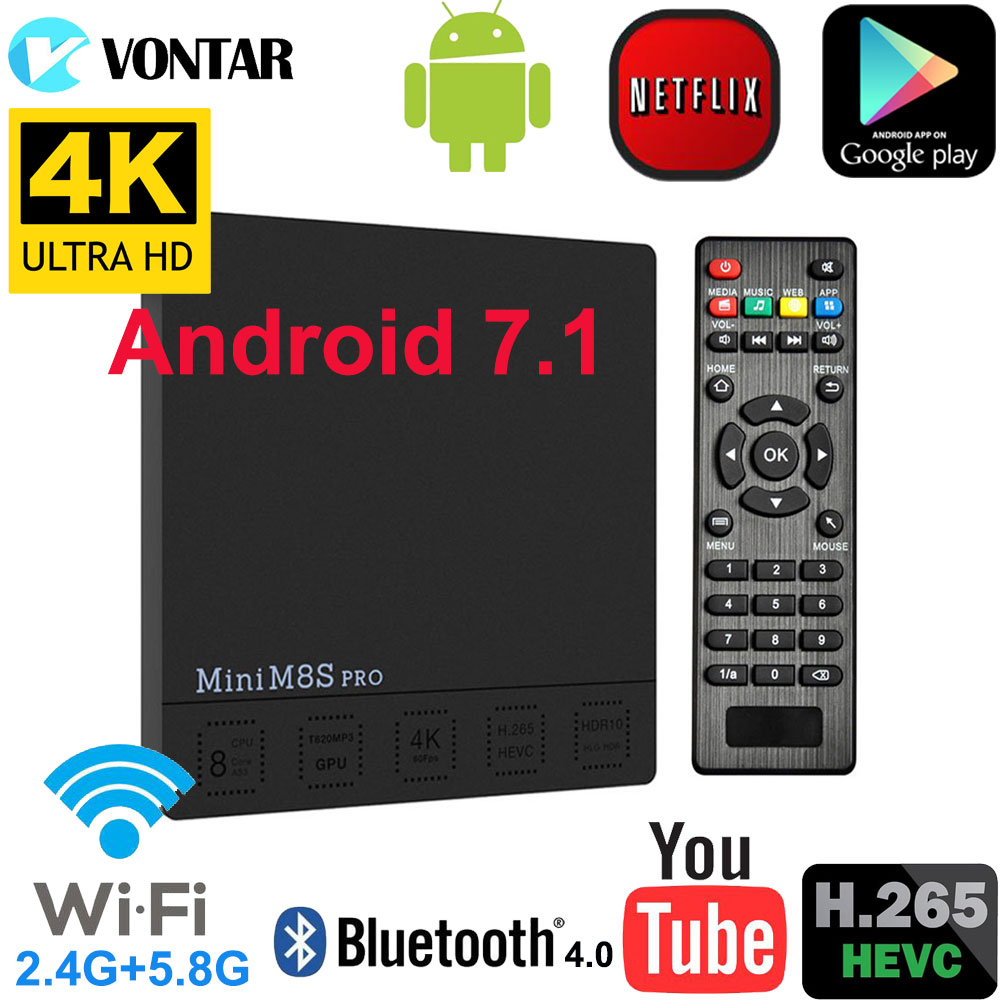 DDR4 3 gb/32 gb Intelligent Android 7.1 TV Box Mini M8S PRO Set top Box DDR3 2 gb /16 gb Amlogic S912 Octa base 2.4g/5 ghz Wifi H.265 4 k
