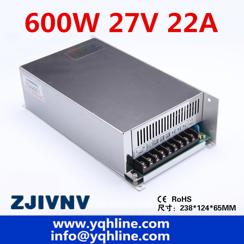 (S-600-27) CE approved high quality SMPS Led switching power supply 27V 22A 600W input 110/220Vac to dc 27v  free shipping(S-600-27) CE approved high quality SMPS Led switching power supply 27V 22A 600W input 110/220Vac to dc 27v  free shipping