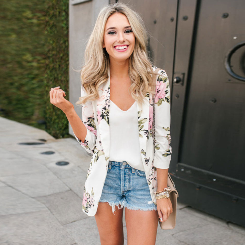 White Vintage Thin Blazers Coat Floral Print Office Ladies Elegant Tops Pockets Spring Autumn Clothes Casual Straight Coat Femme