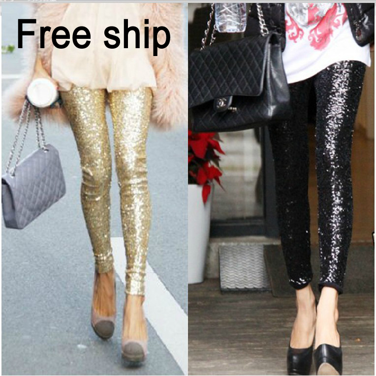 f7a7356cb1f3b Free shipping womens 2012 fashion Ladies shiny Gold Black Sequin Embossed  High Quality Spangle Glitter Leggings legging-in Leggings from Women's  Clothing on ...