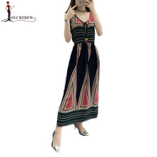 Women Dresses 2018 Summer New Women Large Size S-4XL Printing Dress Sleeveless V-neck Long loose Multicolor Floral Dress NO104