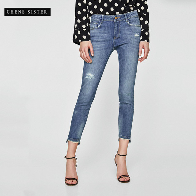 01576ba1cd1  CHENS SISTER  Women s Totally Shaping Skinny Jean Ladies Women Blue Denim  High Waist Stretch Pencil Jeans Calf-length Jeans