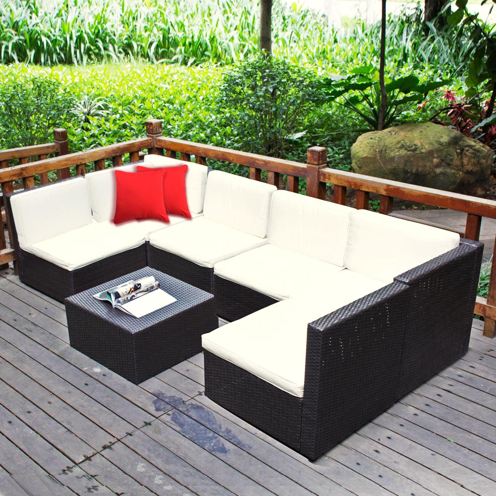 wicker sofa sets uk plastic slipcover 7pc outdoor patio sectional furniture pe rattan set deck couch on aliexpress com alibaba group