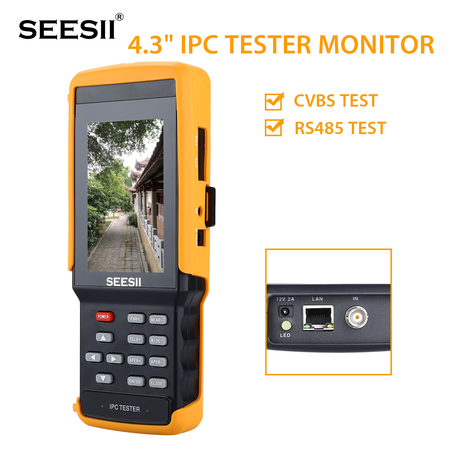 IPC9300 IPC/wifi/AHD/TVI/CVI/Analog 4.3'' Touchscreen CCTV Tester for IP/Analog Camera 1080P BNC Network Cable Tester WIFI 8GB voltega лампа светодиодная диммируемая voltega шар прозрачная e27 4w 2800k vg10 g95cwarm4w 7014
