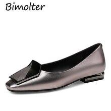 Bimolter 2018 New Fashion Casual Boat Flats Women Genuine Leather Shoes Square Toe  Luxury Woman Leisure Footwears LFSB003
